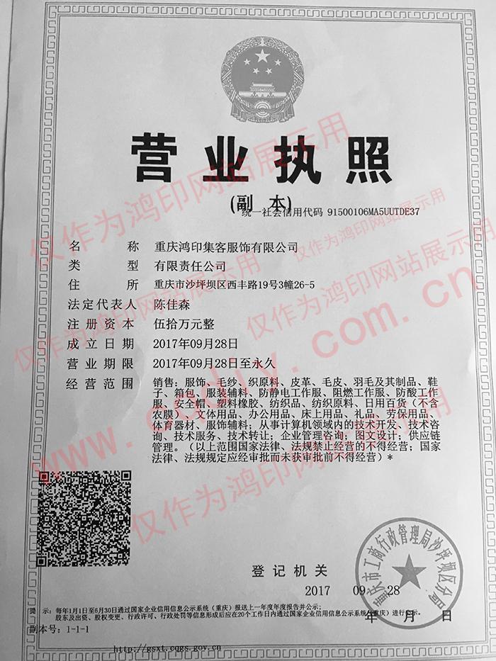 重庆鸿印集客营业资质展示